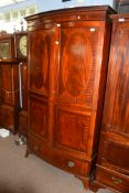 Large mahogany bow front armoire with inlaid decoration, width approx 108cm