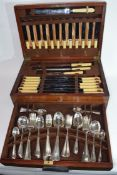 R Stewart Ltd, Glasgow, hardwood cased canteen of silver plated and steel cutlery, case 45cm wide