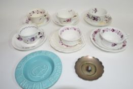 Quantity of Victorian tea wares with a design of purple flowers, together with a small metal dish