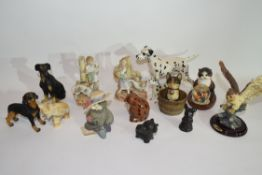 Group of ceramic sculptures of dogs and cats including a Beswick model of a Dalmatian and other