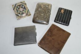 Collection of various cigarette and card cases to include a Victorian mother of pearl mounted card