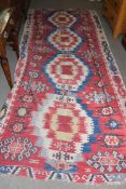 Modern Kilim in the Bor pattern, 355 x 152cm, originally purchased from The Kilim House, Fulham,