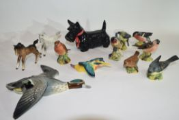 Group of ceramic figures of birds and animals including a Beswick Scottie dog
