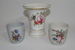 19th century English porcelain beaker vase, probably Spode, decorated with floral sprays, together