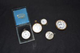 Mixed lot comprising a Continental ladies pocket watch (lacking hands) set in a 800 grade white