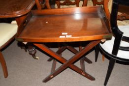 Mahogany butler's tray, length approx 69cm, together with folding matching stand