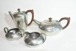 Liberty & Co pewter four piece tea service, stamped Tudric