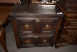 17th century and later oak Jacobean style chest of two drawers with mitred detail, 78cm wide