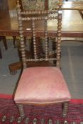 Late 19th century oak side chair with bobbin turned frame and upholstered seat, 100cm high