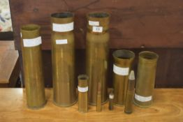 Collection of various trench art and other WWI brass shells to include example marked with Royal