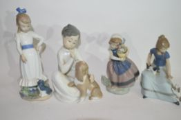 Group of Lladro figures of mainly young children with flowers and puppies (4)