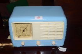 Vintage Ultra T401 radio in light blue Bakelite case