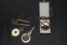 Mixed lot comprising a Boyce Moto Meter, M model, together with a cased vintage voltmeter, a further