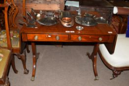 19th century sofa table with cross banded decoration, width folded approx 93cm