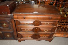 17th century and later oak chest of four drawers, decorated with mitred detail and set with panelled