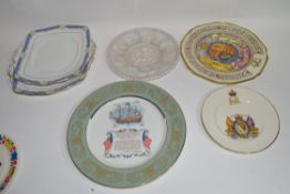 Group of decorative plates including a Paragon commemorative plate etc