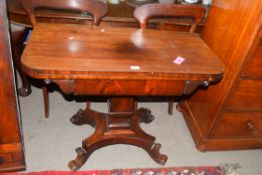 19th century mahogany pedestal tea or card table raised on a four-footed base, 96cm wide