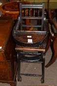 Late 19th century ebonised adjustable child's high chair bearing retailers plate for Alfred W Yeo,