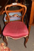 Single Victorian rosewood framed cabriole legged dining chair with upholstered seat