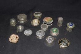Collection of various white metal and base metal pill boxes to include filigree examples, an example