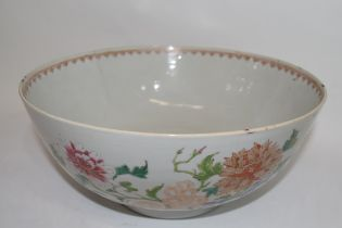 Large Chinese export porcelain bowl, 18th century, decorated in enamels in iron red and blue with