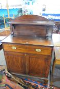 George IV mahogany chiffonier, the back with single shelf and turned column supports over a base
