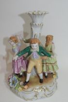 Continental porcelain candlestick in Meissen style decorated with children dancing around a