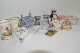 Group of English ceramics including pair of spill vases, two small Masons jugs, two Davenport