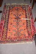 Modern Kilim decorated with central stylised tree type motif, 114 x 160cm