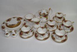 Royal Albert tea set in the Old Country Roses pattern comprising tea pot, milk jug, sugar bowl,