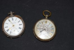 Mixed lot comprising two white metal cased pocket watches comprising an enamel dialled example,