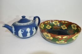 Wedgwood blue jasper tea pot with typical designs, together with a Foley Intarsio bowl with floral