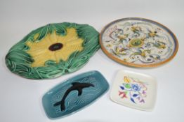 Large majolica dish modelled as a corn on the cob