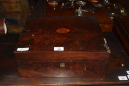 Large 19th century mahogany writing box with fitted interior, 38cm wide