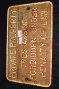 """Vintage cast iron plaque marked """"Private property. Trespassing forbidden under penalty of law"""", 45cm"""
