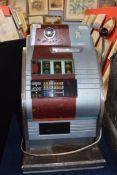 Vintage penny fair one armed bandit fruit machine, 68cm high