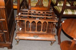 Victorian walnut veneered Canterbury magazine rack of typical rectangular form fitted with a