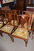 Set of 5 Chippendale style mahogany dining chairs, elaborate pierced splat backs, old tapestry