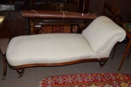 Victorian chaise longue, mahogany frame raised on short carved legs with casters, approx 160cm long