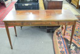 19th century mahogany side table of rectangular form decorated with black inlaid detail fitted
