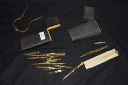 19th century shagreen case containing various brass drawing instruments together with a further case