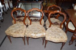 Set of six Victorian mahogany balloon back dining chairs raised on turned legs fitted with button