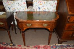 Late 19th century walnut veneered writing desk with green tooled leather inset top, single frieze