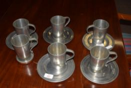 John Somers of Brazil, collection of six pewter tankards together with five accompanying small