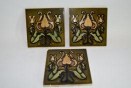 Set of three Art Nouveau style tiles with majolica type glaze (3)