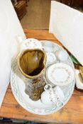 QTY OF ROYAL WORCESTER VETONA COFFEE WARES, A SILVAC VASE AND AN OVAL MEAT PLATE
