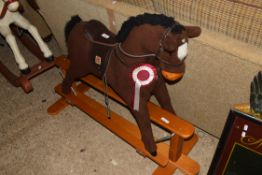 20TH CENTURY FABRIC COVERED ROCKING HORSE ON WOODEN FRAME, 85CM HIGH