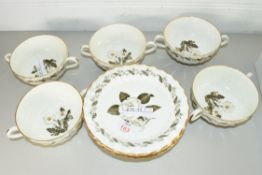 QTY OF ROYAL WORCESTER ENGADINE SOUP CUPS AND SAUCERS