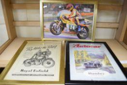 Two advertising prints taken from motorbike magazines