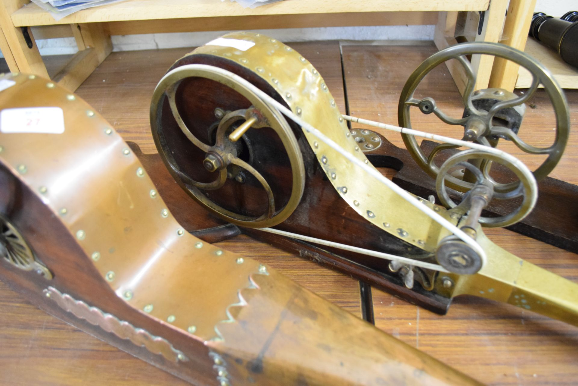 Collection of three 19th century brass or copper mounted mechanical fire bellows, bearing makers - Image 2 of 3